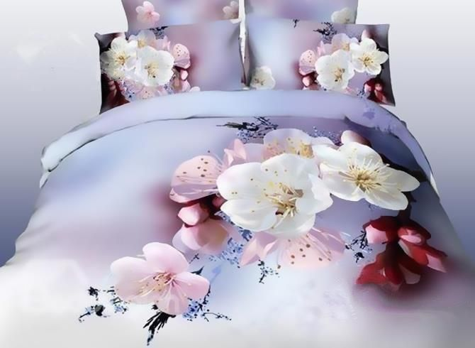 3d Pink And White Cherry Blossom Printed Cotton Luxury 4 Piece