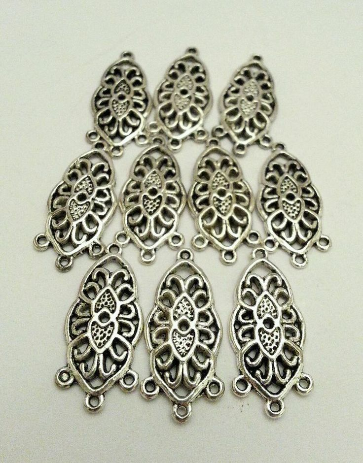 Chandelier Earring Components Antiqued Silver Pewter 3 Drop 15mm X 11mm 10pcs