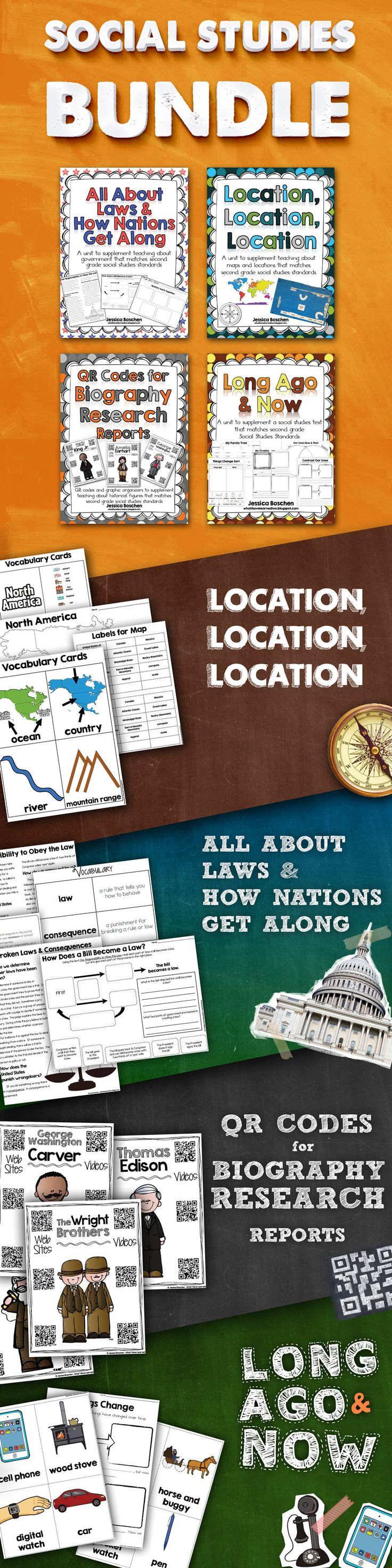 Social Studies BUNDLE includes resources for Long Ago & Now, Biographies, Laws & How Nations Get Along, and Map Skills & Location. A great year-long resource for elementary social studies.