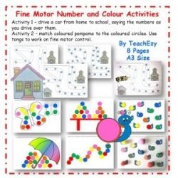Fine Motor Number and Colour Activities