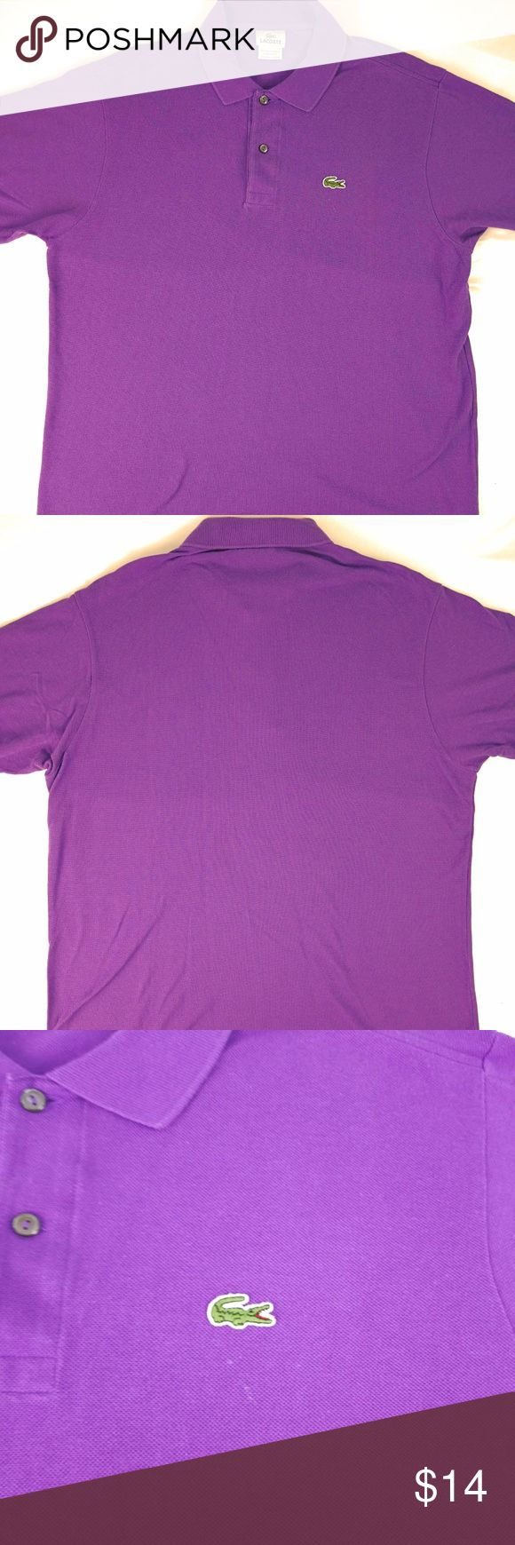 """Lacoste Mens XL 6 Purple Polo Shirt For sale is a polo shirt from Lacoste. Has fade from normal use and wash. The area by the alligator logo has light spots shown in picture 3. Picture 1 and 2 is most accurate in color.   Size: XL/6 Chest: 22"""" pit to pit 44"""" around Length: 27.25"""" measured from below the collar to end of shirt  I will ship your item within 24 hours  Thank you Lacoste Shirts Polos"""