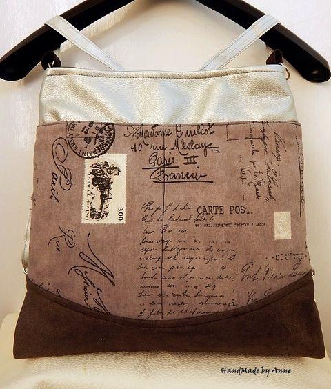 Levél Párizsból - ezüst/szürke 3 in One variálható hátizsák/oldaltáska (annetextil) - Meska.hu