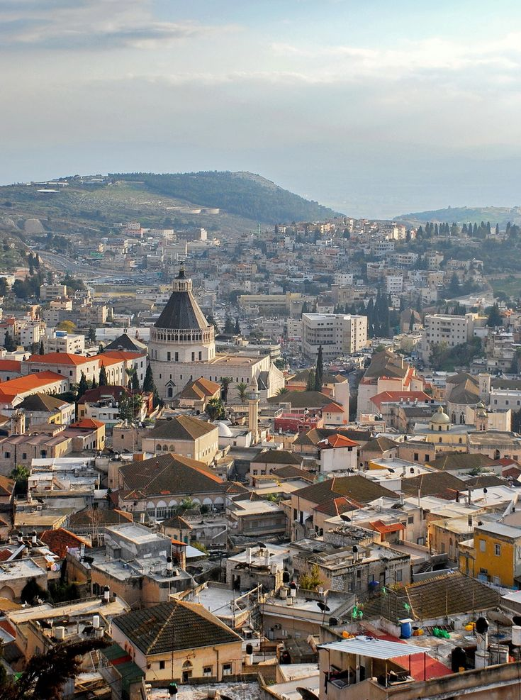 An aerial view of the old town of Nazareth, with the Church of the Annunciation at the centre