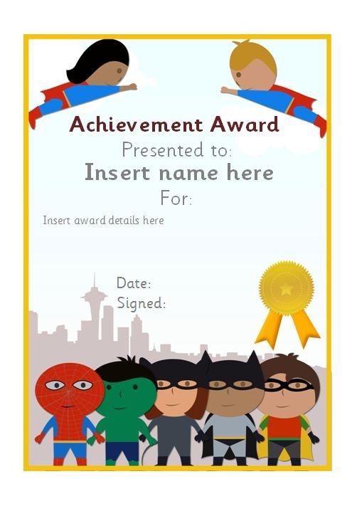 Editable Superhero Themed Certificate Teachingresources