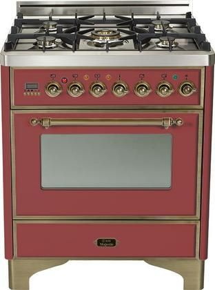 """UM-76-DMP-RB-Y 30"""" Majestic Series Freestanding Dual Fuel Range with 5 Sealed Burners 3.0 cu. ft. Primary Oven Capacity Convection Oven Warming Drawer Oiled Bronze Trim in Burgundy"""