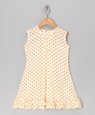 Take a look at this Yellow Polka Dot Bow & Ruffle Sundress - Infant, Toddler & Girls by Vintage Circus on #zulily today!