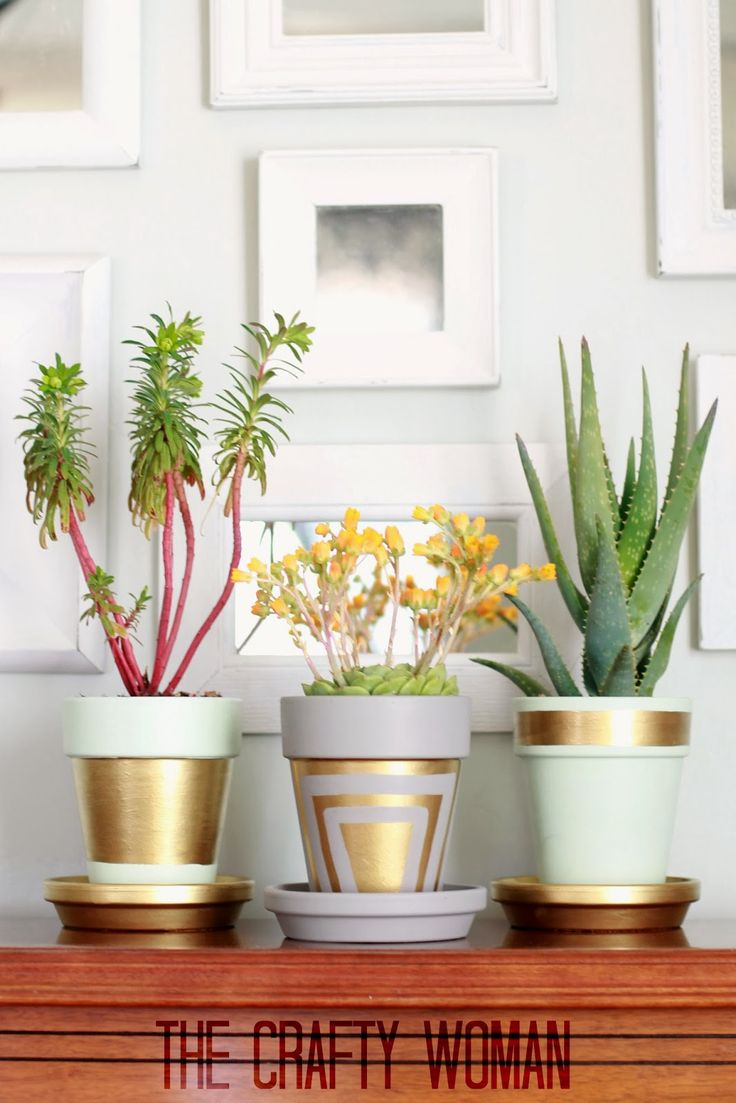 Chic painted flowerpots would be a good Spring Pinterest Party Craft. Maybe I could even get some succulents to plant in them....