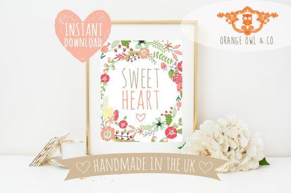 Sweet Heart INSTANT DOWNLOAD 8 x 10 Design by OrangeOwlandCo
