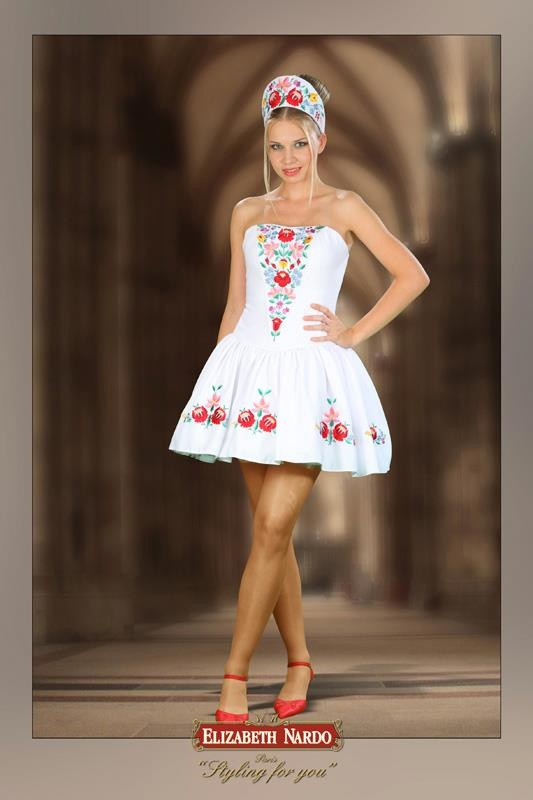 white dress Hungarian folk motives (Kalocsai)-traditional wear in modern form Hungary