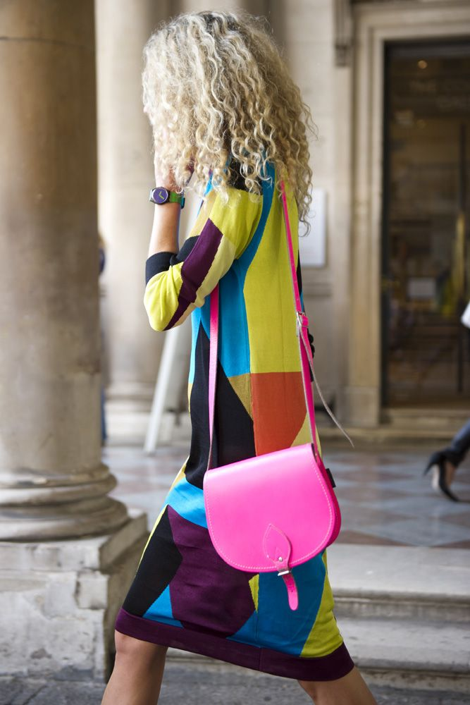 topshop:    This knitted patchwork dress gets a bit of an edge with the neon pink satchel.