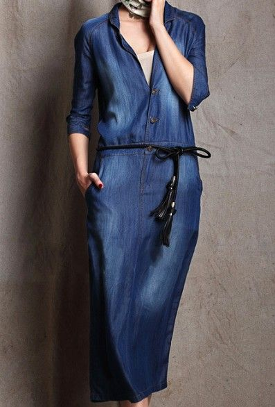 Blue V Neck Long Sleeve Single Breasted Denim Dress