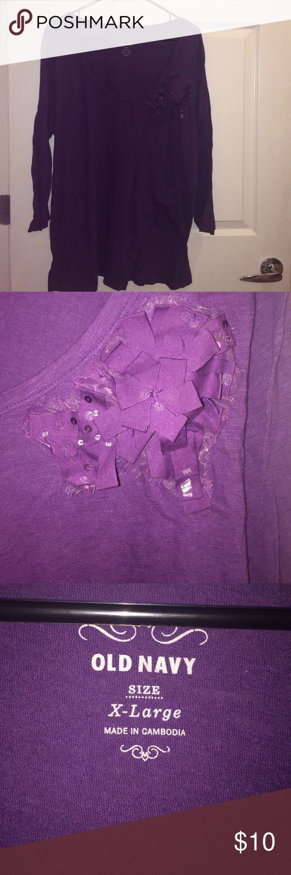 Old Navy dark purple top w/ applicant NEVER WORN. In EXCELLENT condition ✅ XL from old Navy. Dark purple. Long sleeves. With purple ribbon like applicant. Old Navy Tops Tees - Long Sleeve
