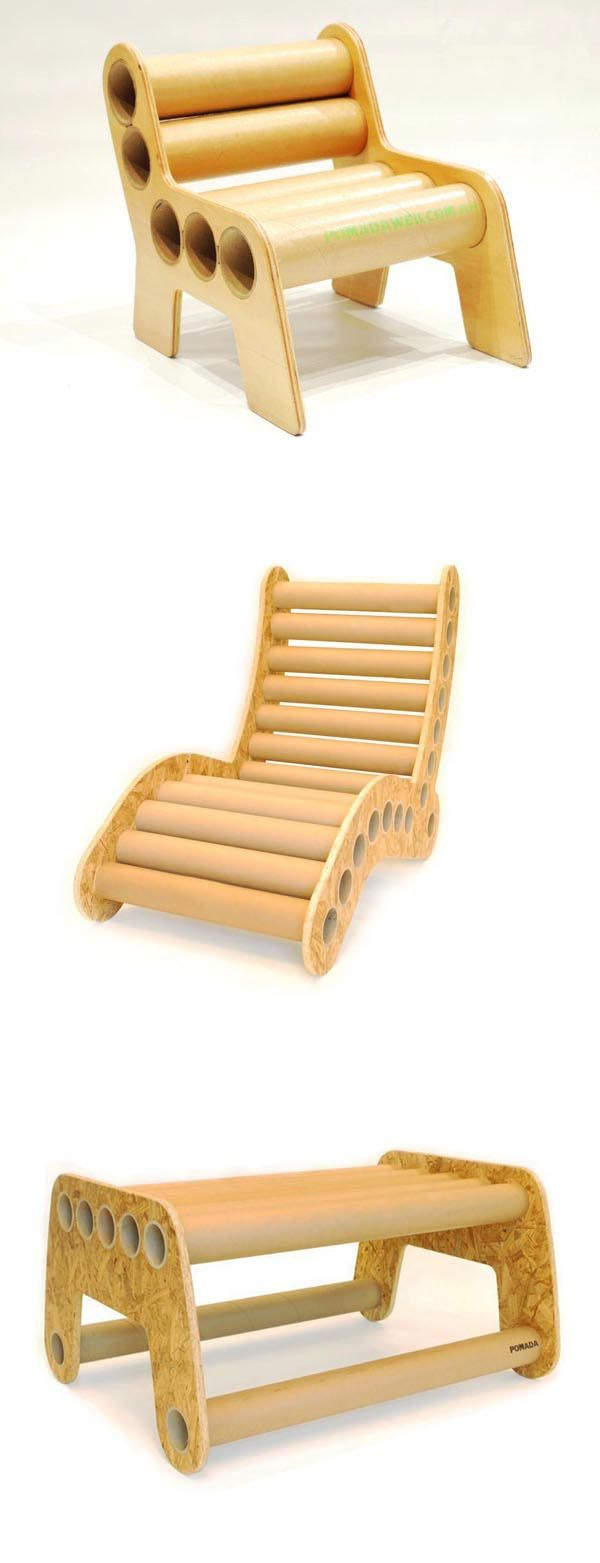 Comfortable cardboard chair designs - Pomada Furniture Made From 30 Cm Wide Cardboard Tubes Which Are Cut And Sanded Before They Slide Into Frames Made From Plywood Or Recycled Osb
