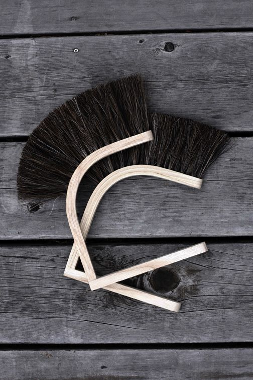 Superstitious Hand Broom has a steam-bent ash handle and horsehair bristles; $95.