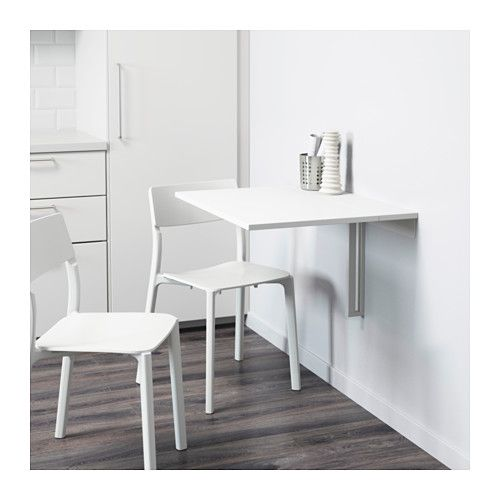 NORBERG Wall Mounted Drop Leaf Table White TableTable DeskDining