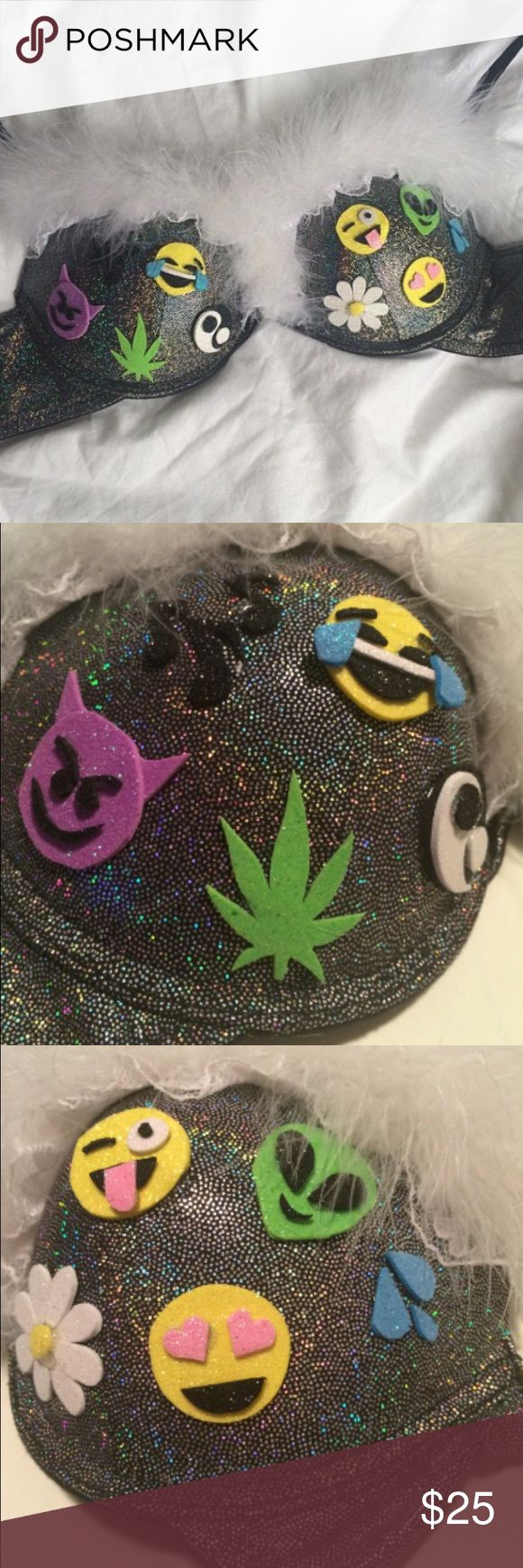 Hologram Emoji Rave Bra Embellished bra perfect for any event, festival, party, or costume! Push up with racerback convertible straps. Size 34B/32C Intimates & Sleepwear Bras