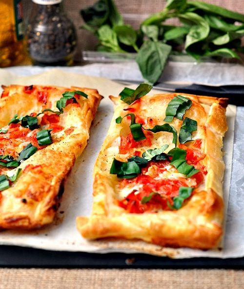Caprese Tart: puff pastry, tomatoes, buffalo mozzarella & fresh basil