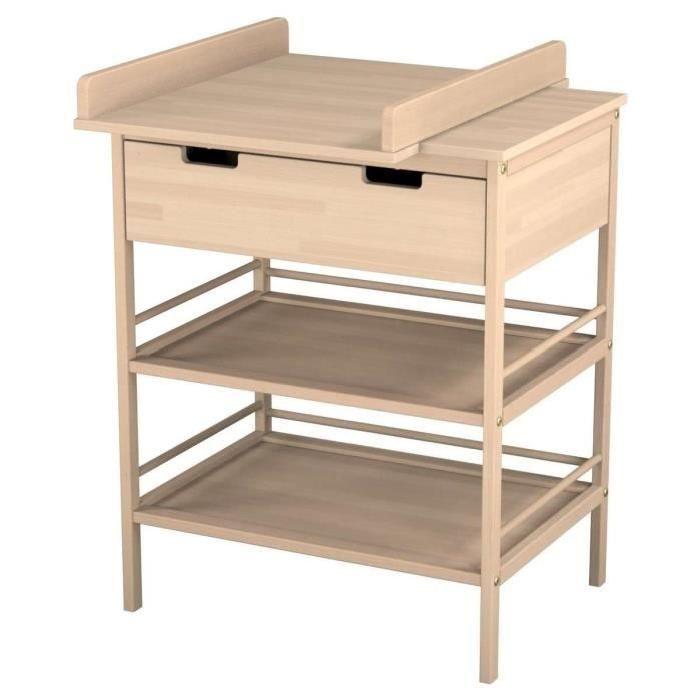 Avec son grand tiroir et ses deux étagères, le meuble à langer imaginé par Ateliers T4 facilitera le moment de la toilette et du change de bébé. Il offre un bel espace de rangement, qui vous permettra ainsi de stocker produits de soin, couches, et pourquoi pas quelques petits vêtements !