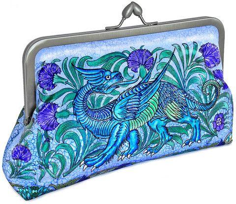 William de Morgan Mythical Dragon printed satin clutch purse. Bags by Baba Studio