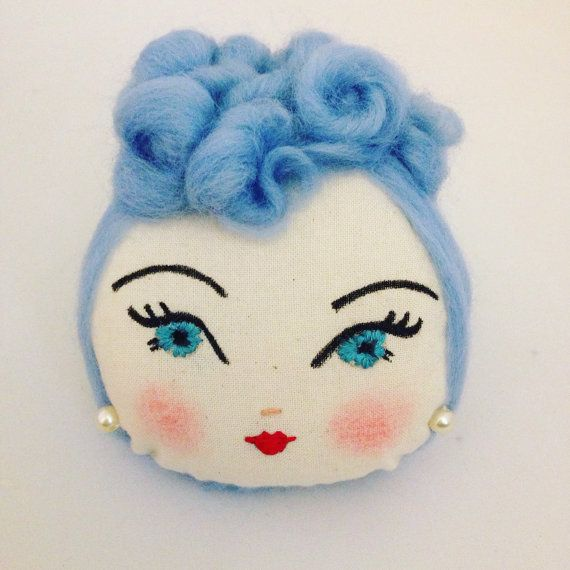 Doll face corsage. 1940's poodle curls. by Thequirkygirls on Etsy