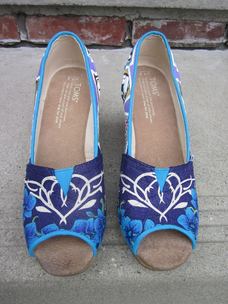 Custom wedding shoes for the bride. TOMS peeptoe wedges