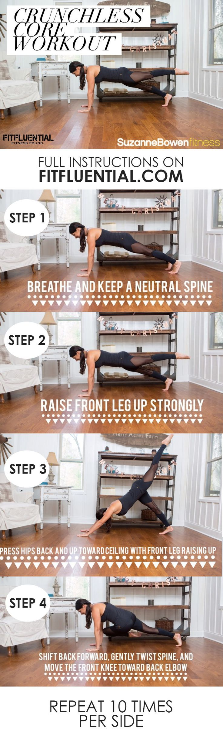 Work the abs and core with this abdominal workout featuring absolutely NO crunches! From Suzanne Bowen. click for full workout and instructions.