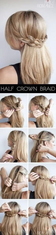 Lovely half crown braids. These look beter if you start with a Dutch braid and remember to use Bobby pins.