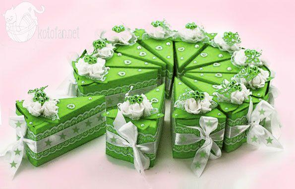 Бонбоньерка «Кусочек торта» — упаковка для подарка