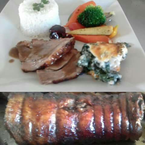 Roast lamb with basmati rise and vegetables ensemble!