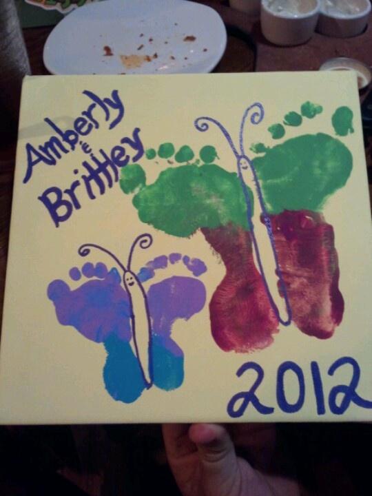 Footprint butterflies... A birthday present for Grandma!