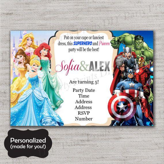 princesses and superheroes birthday invite princesses and