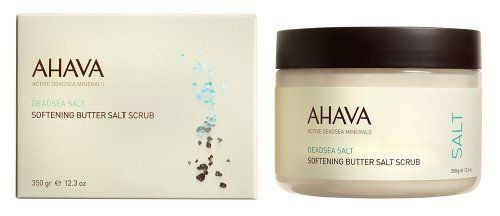 Ahava Softening Butter Salt Scrub, 12.30 Ounce by AHAVA. $24.95. Luscious blend of Dead Sea salts, natural oils, seaweed, and sugar. One-of-a-kind formulation - changes from exfoliating butter to a light pampering lotion as water is added. Amazing scrubbing butter salt - gently exfoliates dead cells and removes deeply embedded skin dirt. Effective anti-aging properties of Dunaliella algae extract. Exotic scent of Mandarin and Cedarwood helps to relieve tired skin and soul wi...