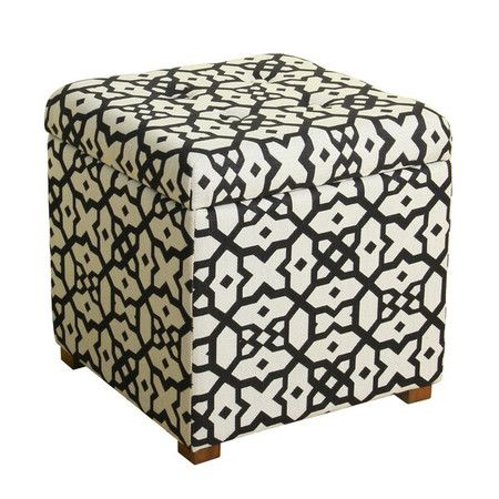 Maybe I could make two of these for my larger guest bedroom in the same material as the headboard..  Holds hats, gloves, pet supplies, and more in style with this upholstered storage ottoman, featuring a geometric print.Product: