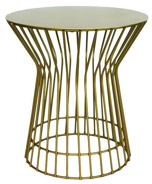 Metallic Drum Side Table