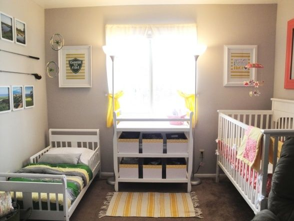 If we're having another girl, possible layout for shared room. Turn spare room into playroom.