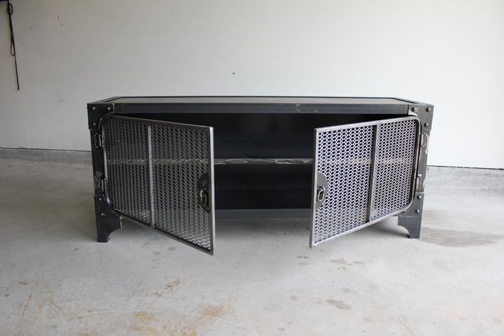 """All steel industrial style media console / tv stand / cabinet. 52"""" W x 18"""" H x 15"""" D. Small enough for a tight space but unique enough to stand out in a large room. Raw steel clear coat finish."""
