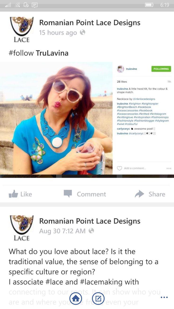 Blue silk viscoze polymer clay romanian point lace necklace. Email for custom design balearaitzart@gmail.com
