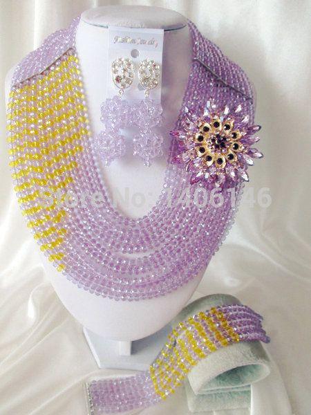 2014 свадебные украшения хорошо сделал фиолетовый, Сирень, Лаванда шампанское кристалл нигерии свадьба африканские бусины комплект ювелирных изделий Ab1202