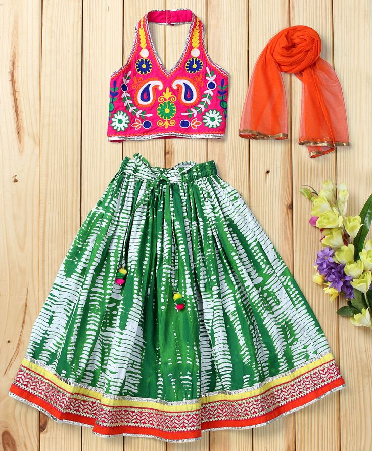 Twisha Trendy Green Shibori Lehanga With Blouse & Net Dupatta  #traditional #girlsfashion