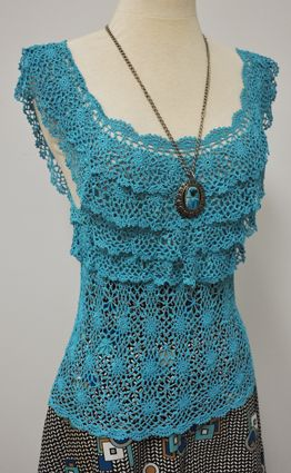 Vintage Crochet Tiered Flapper Tunic Sweater