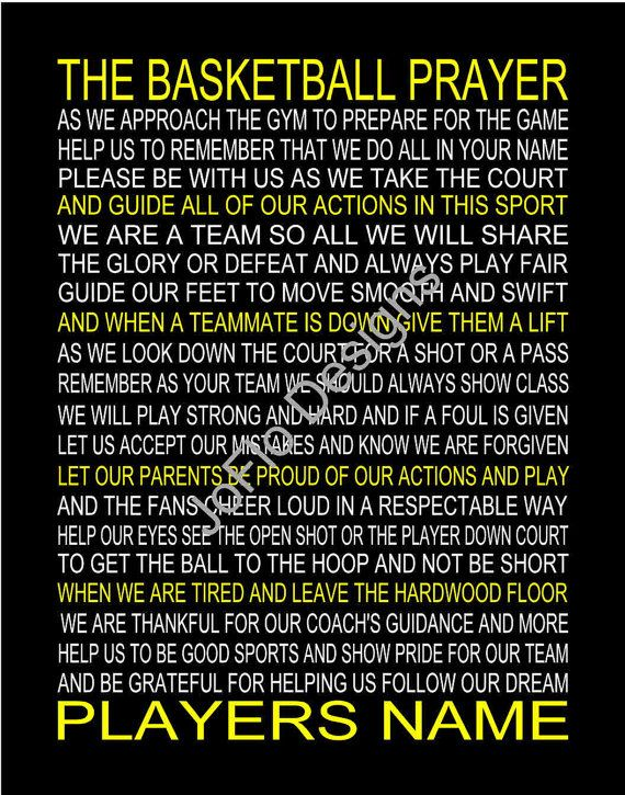 The Basketball Prayer personalized with or without photo 11 X 14 by joflo33us, Also available with Soccer Prayer, Softball Prayer, Football Prayer or Baseball Prayer.