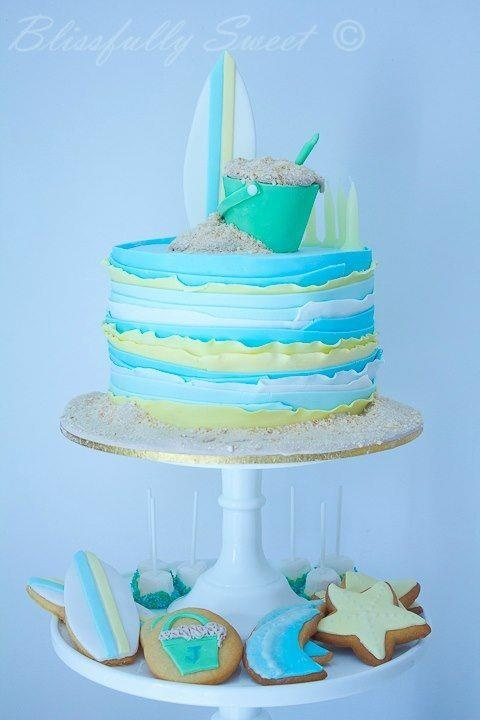 "Beach Themed Cake----love the ""waves"""