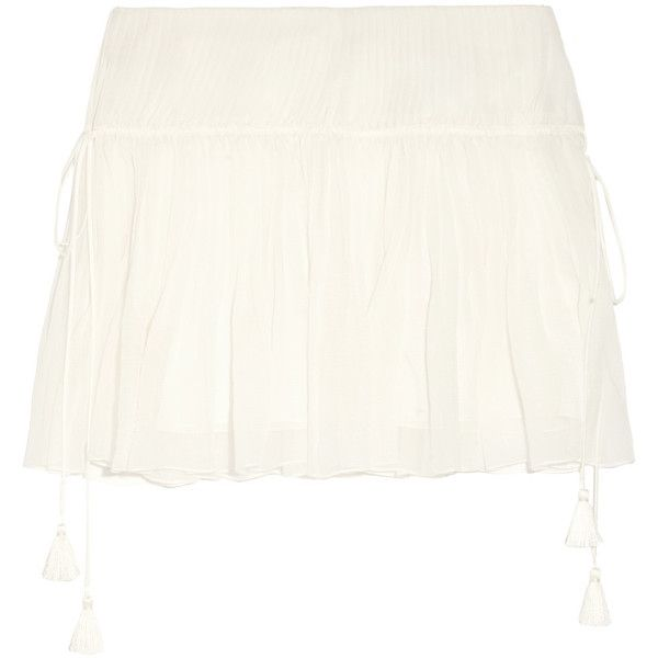Chloé Pleated silk-crepon mini skirt ($870) ❤ liked on Polyvore featuring skirts, mini skirts, white, white pleated skirt, white skirt, silk pleated skirt, white silk skirt and white mini skirt