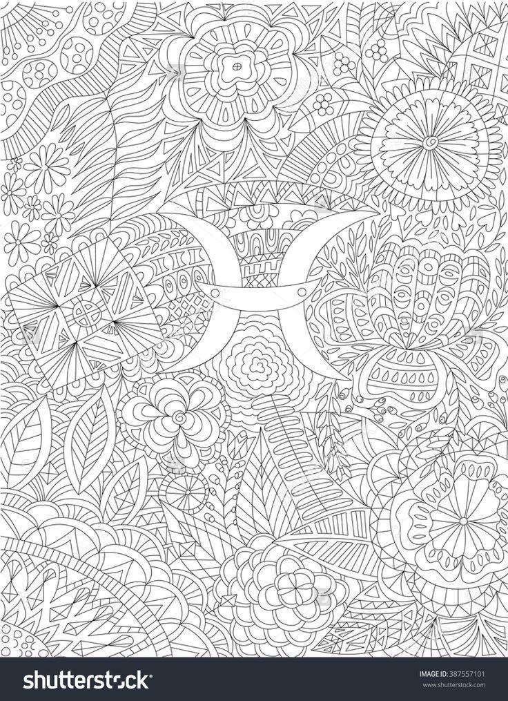 Zodiac Sign Pisces Ethnic Floral Geometric Doodle Pattern
