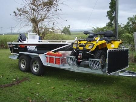 Custom Made Off Road Boat Trailer With Four Wheeler