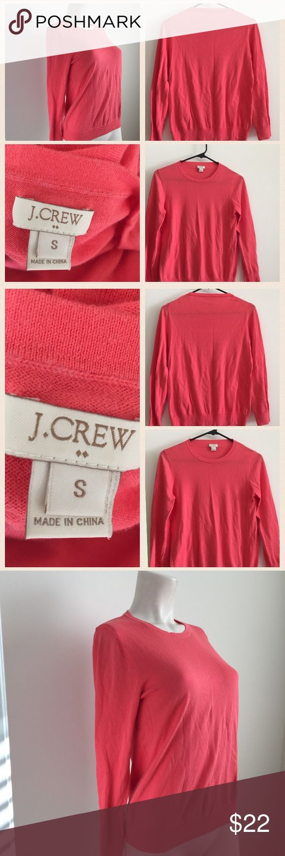 J. Crew coral colored sweater Gorgeous coral colored sweater by J. Crew. Pullover design. Add a pop of color to your outfit with this sweater! J. Crew Sweaters