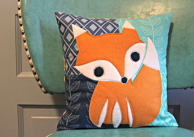 quilted fox pillow by maureencracknell, via Flickr
