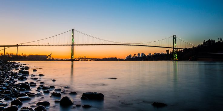 Vancouver // Sunrise over the Lions Gate Bridge and downtown Vancouver from Ambleside Park in West Vancouver // Long exposure // Image by Ray Urner // www.rayurner.com