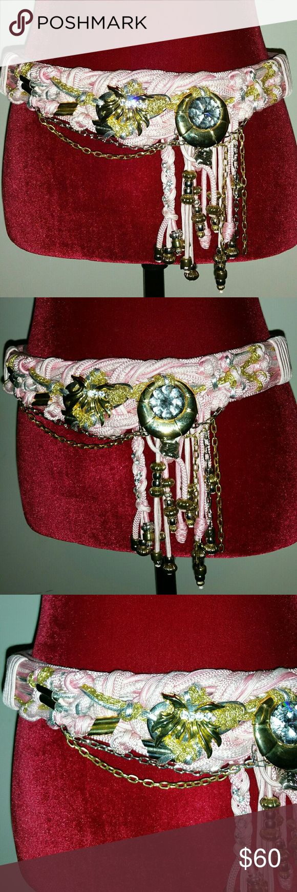 """😍""""REBECCA'S"""" Tie Knotted Robe Beaded Belt😍 Rebecca's Tie Knotted Robe Beaded Belt. 48.5"""" approx length. Colors Pink. Bronze. Silver. Beads and Rhinestone are in tact. Very gorgeous belt. Pre-Loved. Good Condition. Belt hooks around the waist. Velcro Attach.  😍 Please view all photos 😍Make an Offer 😍Let's Chat Rebeccas Accessories Belts"""