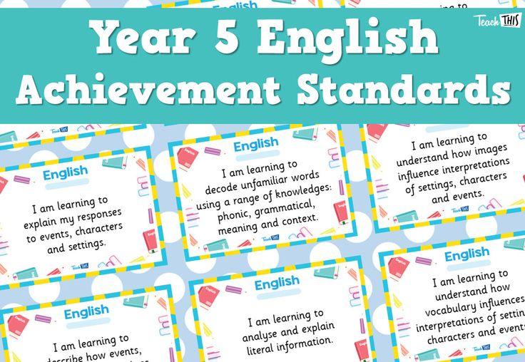 English Achievement Standards - Yr5